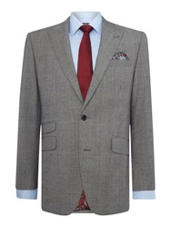 New And Lingwood Men's Heywood Sb2 Notch Lapel Check Suit Jacket Grey