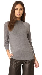 Dkny Pure Ribbed Pullover With Jersey Sleeves Flint Heather