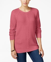 Karen Scott Cable Knit Crew Neck Sweater Only At Macy's Pink Orchid