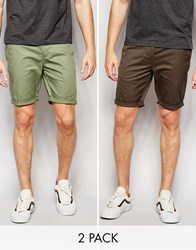 Asos Skinny Chino Shorts Mid Length In Light Green Khaki 2 Pack Save 17 Sea Spray Forest Multi