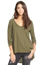 Junior Women's Sun And Shadow V Neck Thermal Swing Top Olive Burnt