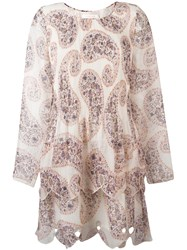 See By Chloe Paisley Print Tiered Dress Nude Neutrals
