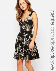 Paper Dolls Petite Plunge Back Prom Dress With Metallic Floral Print Black