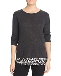 Bloomingdale's C By Layered Look Animal Print Cashmere Sweater Dark Slate