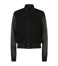 Rag And Bone Camden Leather Sleeve Bomber Jacket Female Black