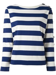 Mih Jeans Button Sleeve Breton Jumper White