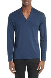 The Kooples Men's Leather Trim Wool And Cotton T Shirt