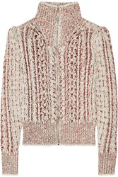 Isabel Marant Easley Melange Cable Knit Wool Blend Cardigan Ecru