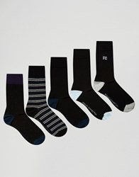 French Connection 5 Pack Socks Black