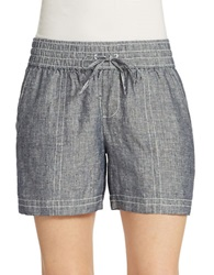 Lord And Taylor Chambray Linen Drawstring Shorts Evening Blue