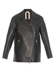 N 21 Zip Detail Oversized Leather Jacket