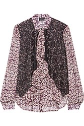 Just Cavalli Lace Paneled Printed Crepe Shirt Purple