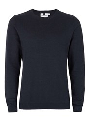 Topman Navy Twist Crew Neck Jumper Blue