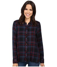 Michael Stars Plaid Hi Low Boyfriend Shirt Nocturnal Women's Clothing Black