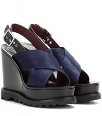 Marc By Marc Jacobs Irving Heavy Tread Calf Hair Wedge Sandals Black