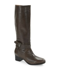 Nine West Vani Leather Riding Boots Dark Grey