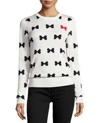 French Connection Allover Bows Long Sleeve Sweater White Black