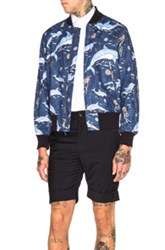 Engineered Garments Aviator Jacket In Animal Print Blue