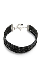 Kenneth Jay Lane 8 Row Bead Choker Necklace Jet