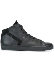 Leather Crown Lace Up Hi Top Sneakers Black