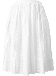 Rochas Frill Trim Midi Skirt White
