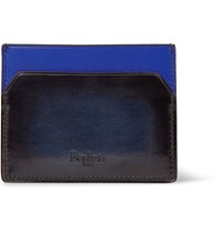 Berluti Bambou Two Tone Polished Leather Cardholder Midnight Blue