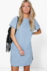 Boohoo Curved Hem Cap Sleeve Denim Shift Dress Blue