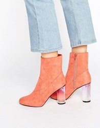 Missguided Clear Block Heel Ankle Boots Blush Pink