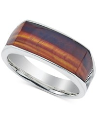 Esquire Men's Jewelry Red Tiger's Eye 4 X 8 X 3Mm Ring In Sterling Silver First At Macy's