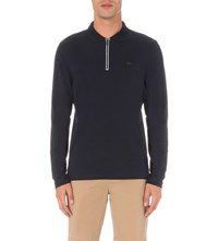 Michael Kors Long Sleeve Half Zip Polo Shirt Midnight