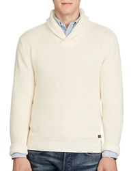 Polo Ralph Lauren Cotton Shawl Collar Sweater Canvas Cream