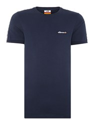 Ellesse Regular Fit Tape Sleeve Badge Logo T Shirt Navy