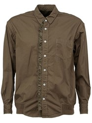 Sacai Frill Placket Shirt Brown