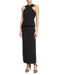 Brandon Maxwell Halter Neck Layered Peplum Midi Dress Black Size 8