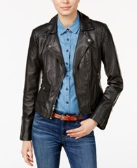Tommy Hilfiger Faux Leather Moto Jacket Only At Macy's Black