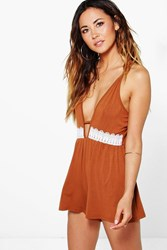Boohoo Strappy Crochet Trim Playsuit Tan
