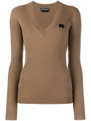 Rochas V Neck Ribbed Jumper Brown