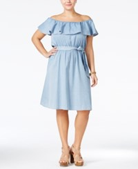 American Rag Plus Size Off The Shoulder Chambray Dress Only At Macy's Tibby Wash