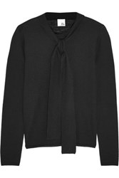 Iris And Ink Naomi Pussy Bow Cashmere Sweater Black