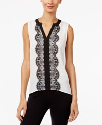 Inc International Concepts Colorblocked Lace Trim Top Only At Macy's Washed White