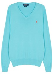 Polo Ralph Lauren Turquoise Slim Pima Cotton Jumper
