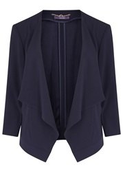 Laurel Navy Draped Crepe Jacket