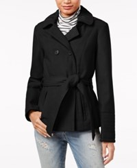 Celebrity Pink Double Breasted Hooded Peacoat Jet Black