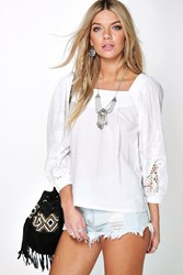 Boohoo Embroidered Sleeve Smock Blouse White