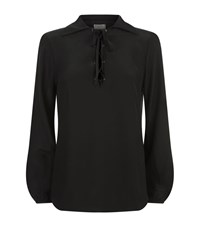Frame Lace Up Silk Blouse Female Black