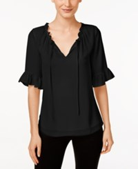 Cece By Cynthia Steffe Short Sleeve Ruffled Blouse Rich Black