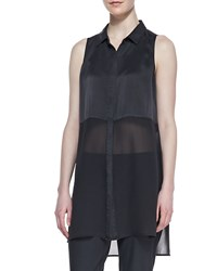 Eileen Fisher Silk Long Sleeveless Shirt Women's