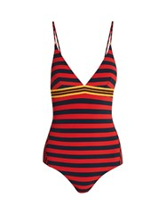 Stella Mccartney Calypso Contrast Striped Swimsuit Red Multi