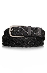 Tumi Ballistic Nylon And Leather Braided Belt Black Gun Metal