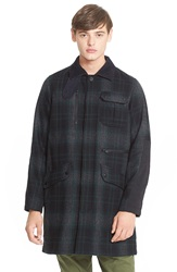 White Mountaineering Plaid Flannel Coat Grey Green